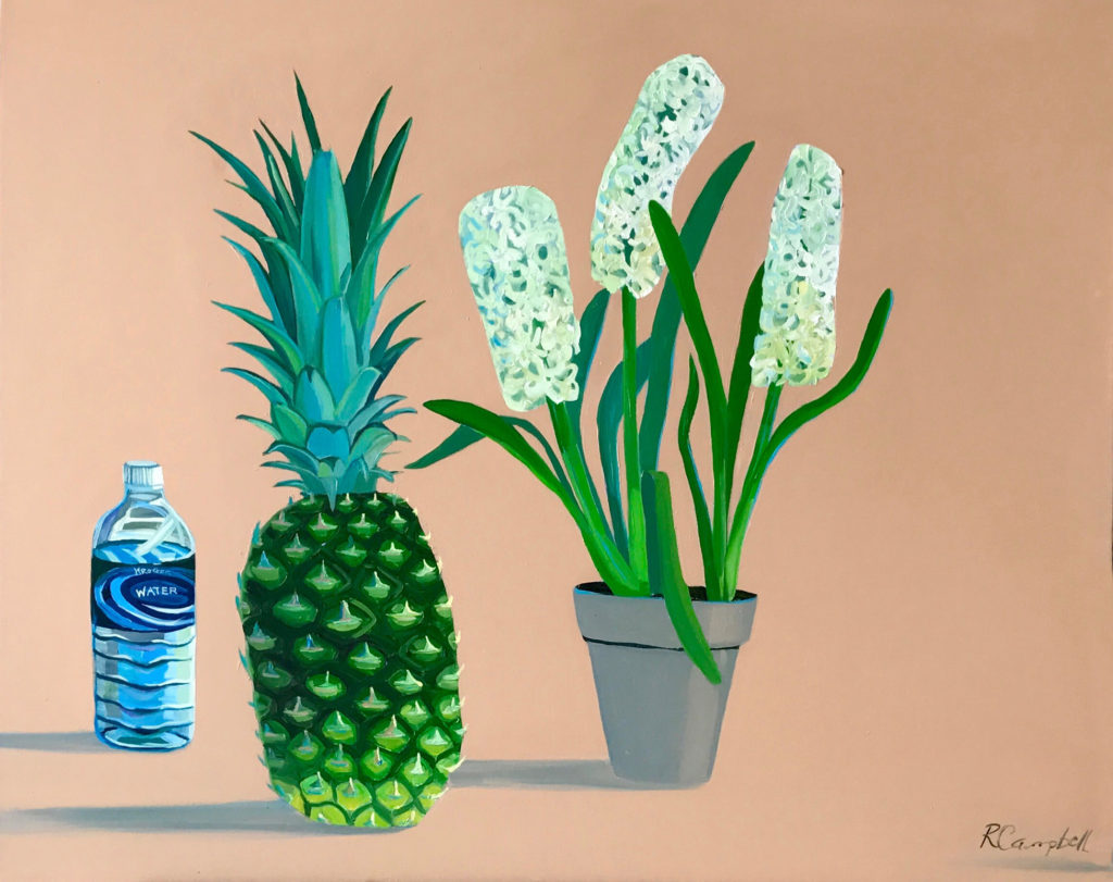 Love in the Form of Hiacynths and Pineapple with Water,  oil on canvas, 24×30 by Rachel Campbell at Craven Allen Gallery