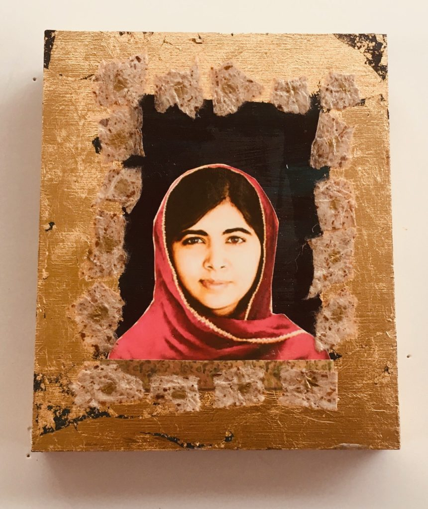 Malala by Madelyn Smoak, collage on wood. 6 x 5 at Craven Allen Gallery