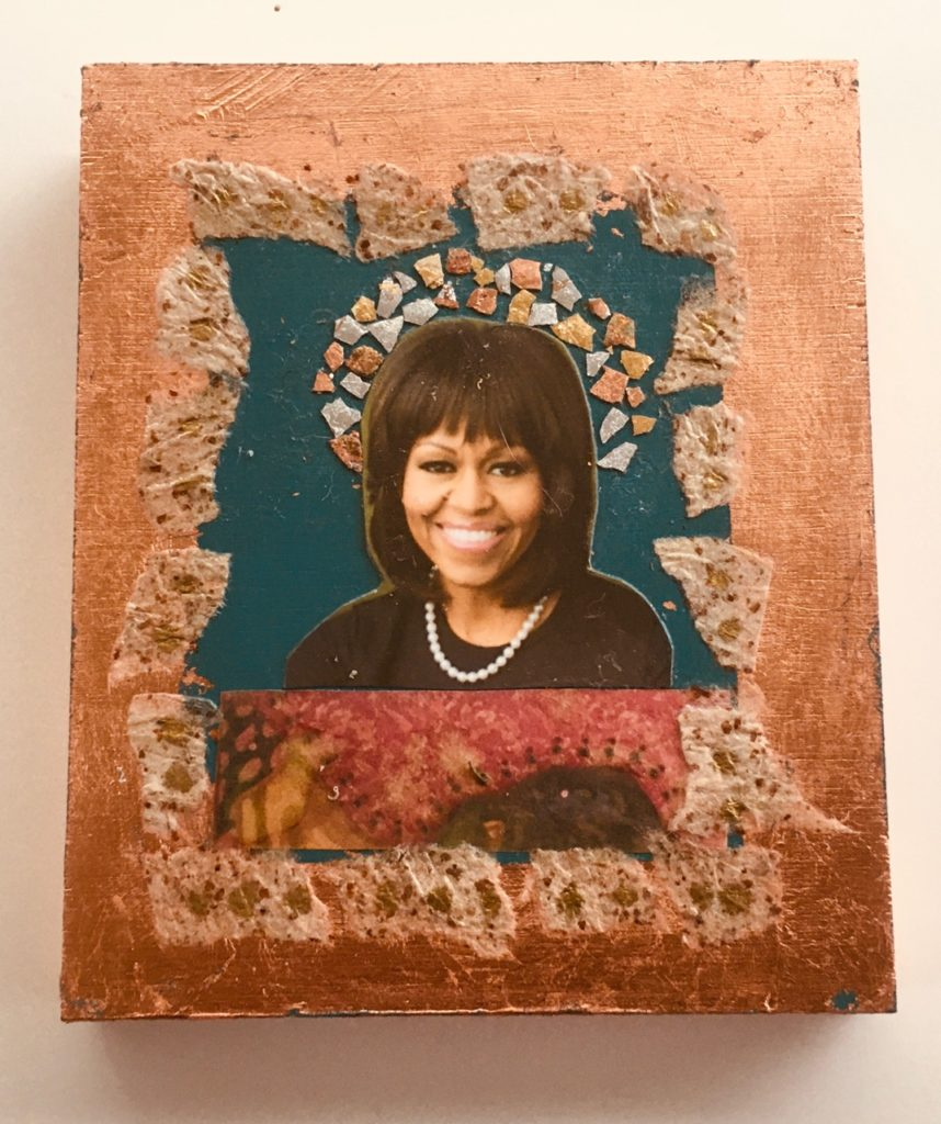 Michelle Obama by Madelyn Smoak, collage on wood 6 x 5 at Craven Allen Gallery