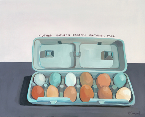 Mother Natures Protien Provider Pack, oil on canvas,  36×24 by Rachel Campbell at Craven Allen Gallery