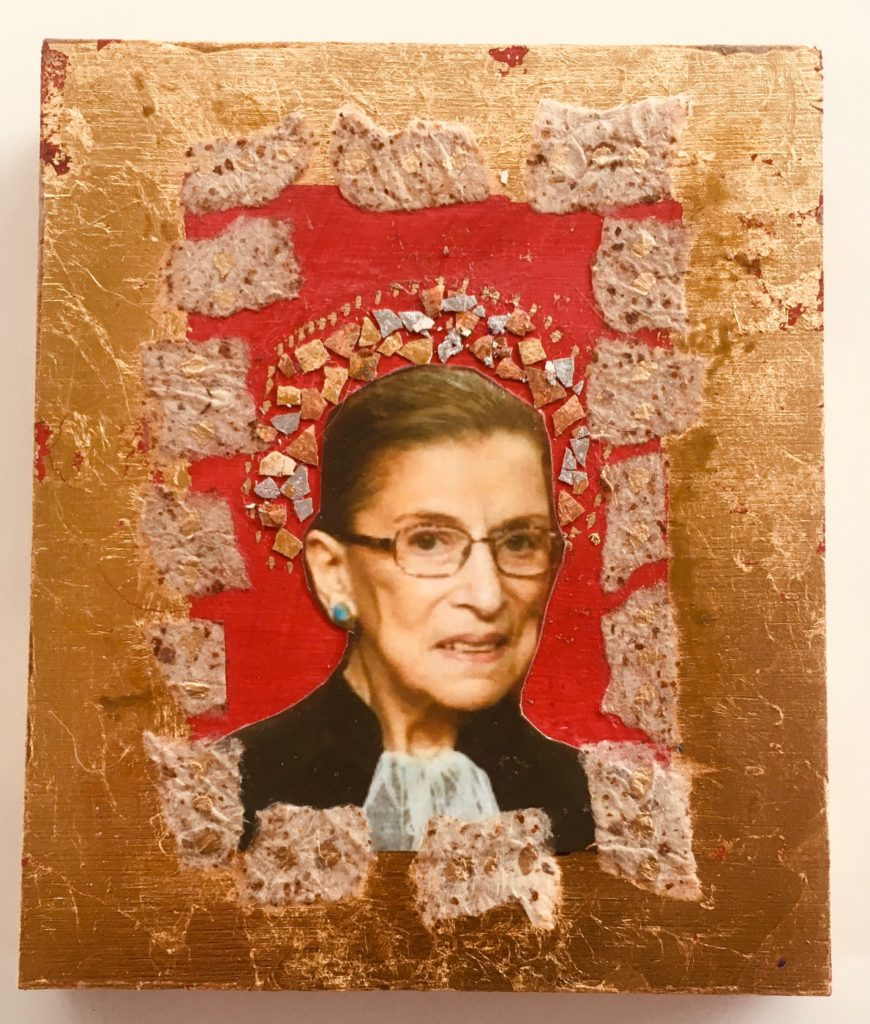 Notorious RBG by Madelyn Smoak, collage on wood, 6 x5 at Craven Allen Gallery
