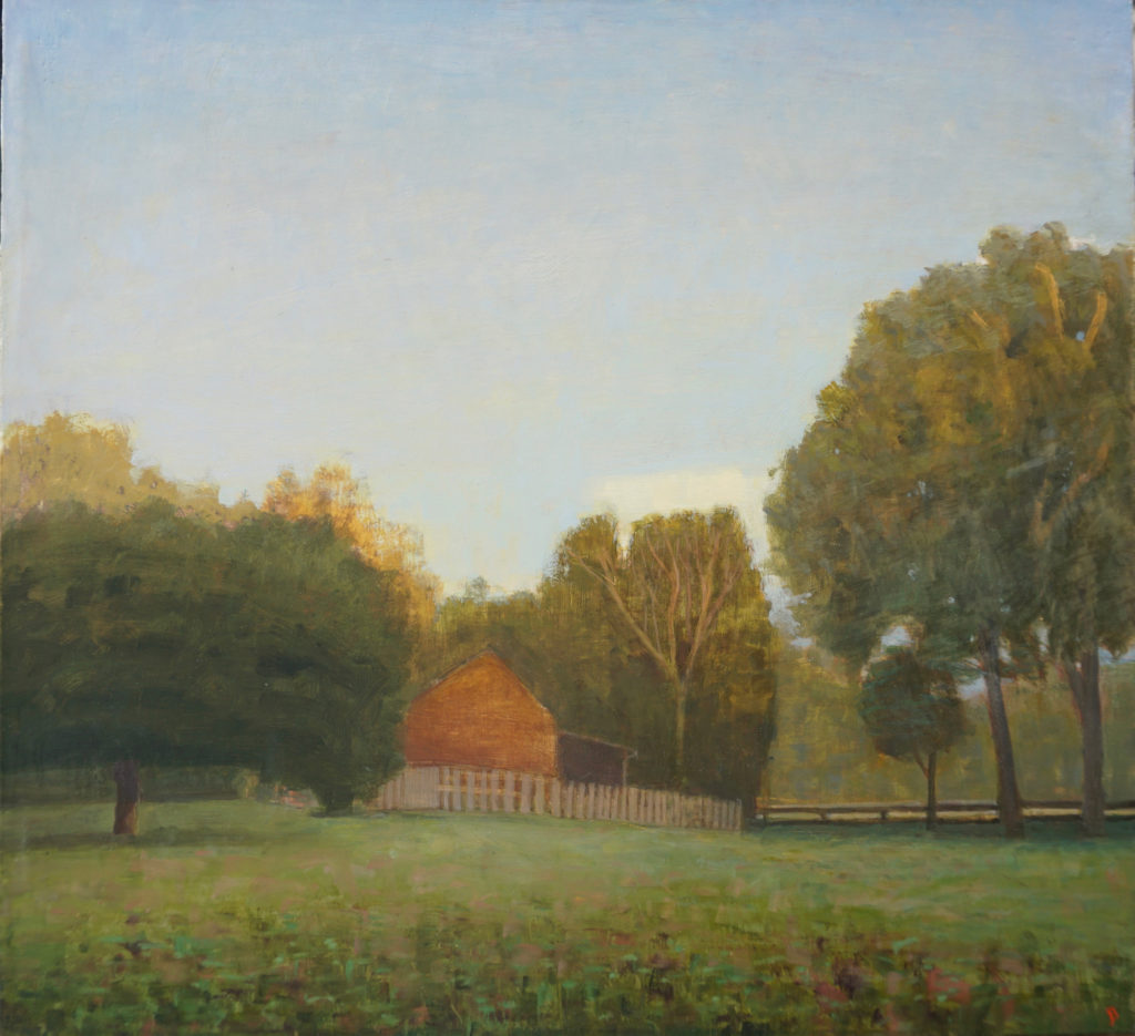October Dusk, Barn and Field, Egg Tempera and oil on linen, 13 x 14 by John Beerman at Craven Allen Gallery