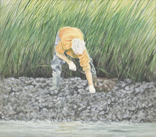 "On the Mud Flats by Tony Alderman, 22"" x 25"",  4,200"