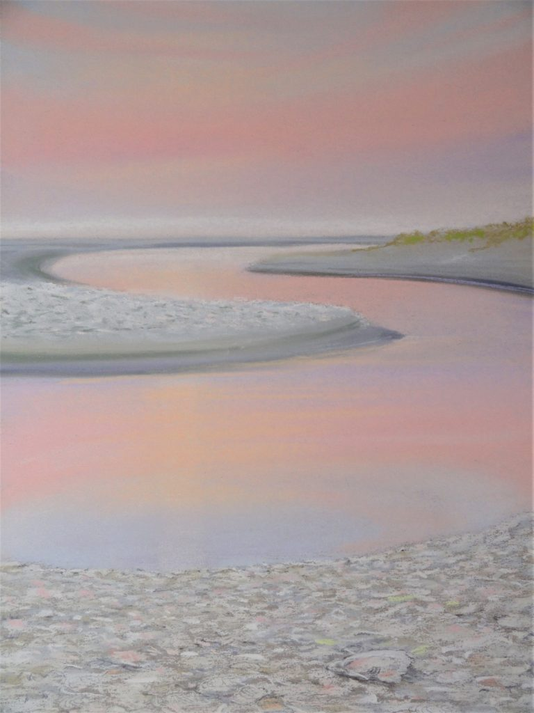 Oyster Pink by Sue Sneddon pastel 13 x 19 framed size 20.5 x 16.5 at Craven Allen Gallery  950