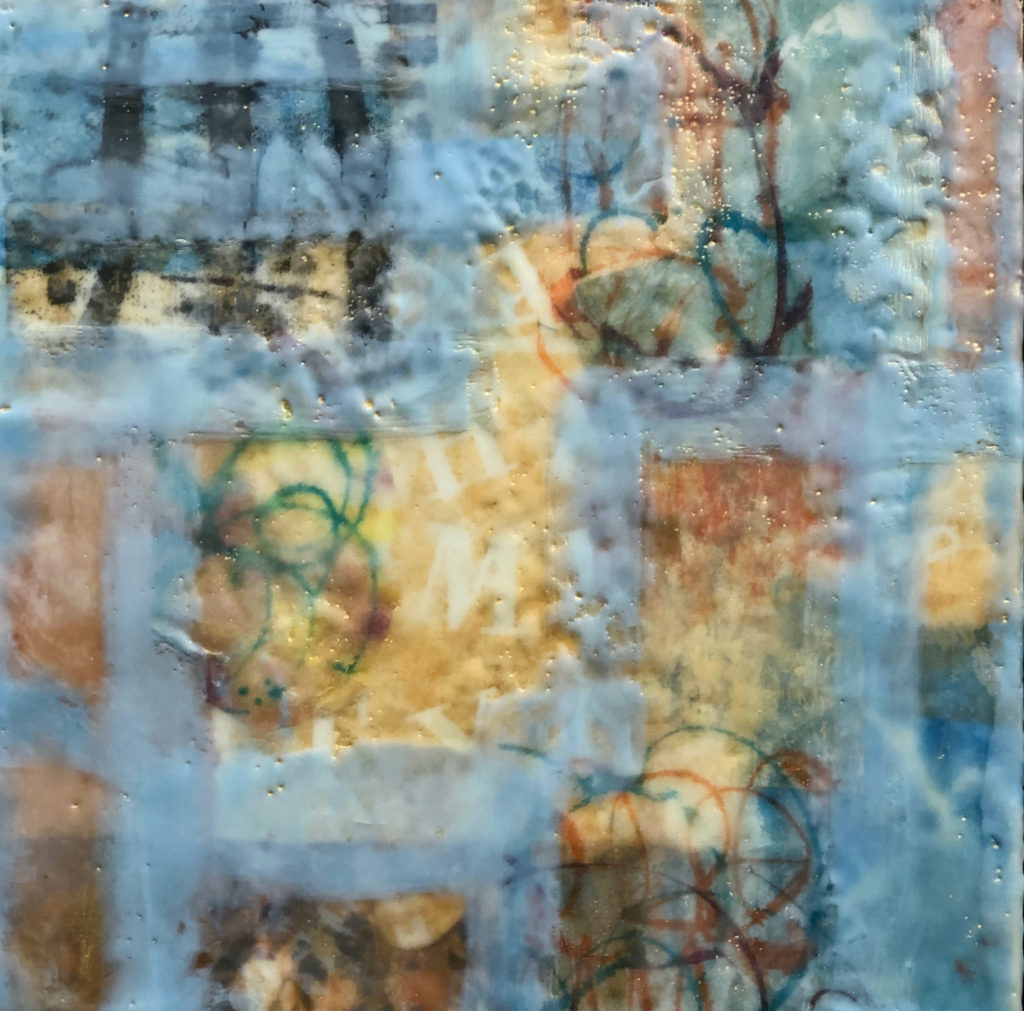 Breaking Free by Peg Bachenheimer, encaustic, 12×12 at Craven Allen Gallery