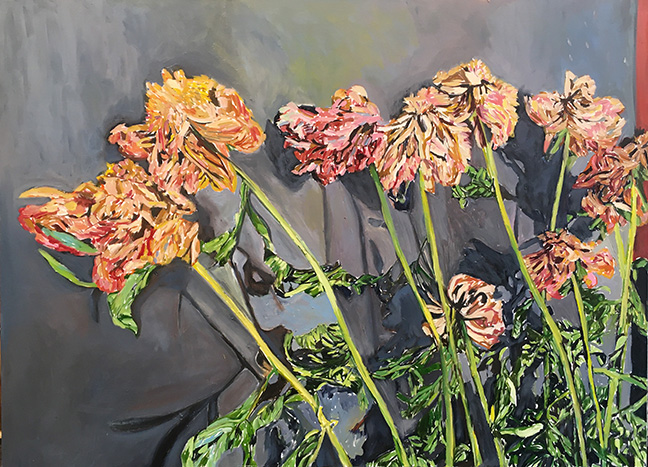 Peonies on the Wall by Beverly McIver, oil on canvas, 36 x 48 at Craven Allen Gallery