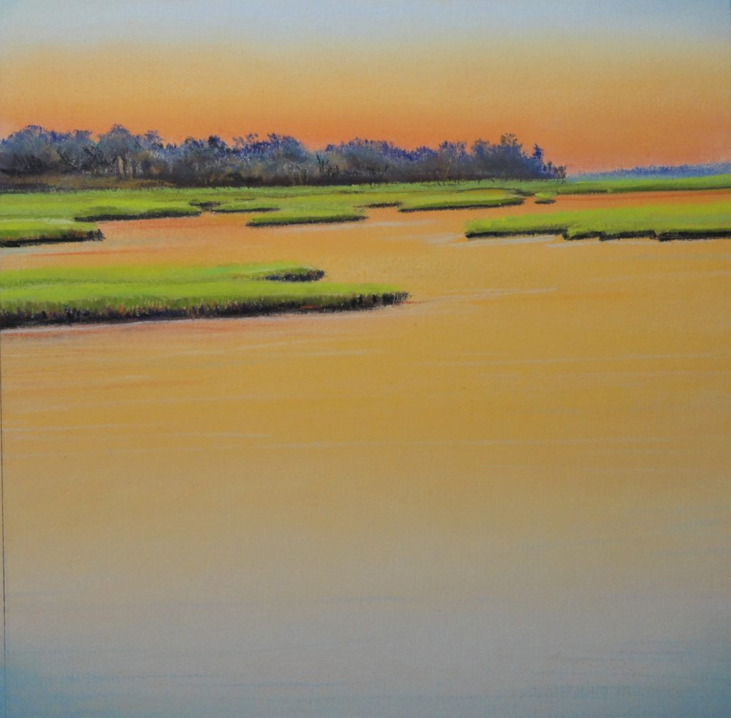 River Twilight by Sue Sneddon pastel 8 x 8 framed size 15.5 x 15.5 at Craven Allen Gallery  550