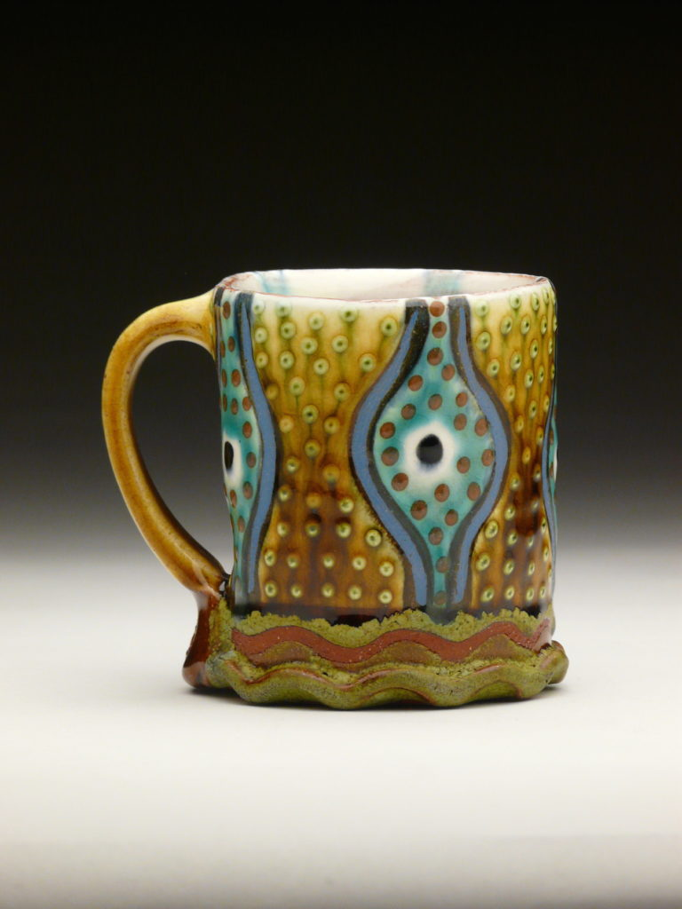 Dotty Gall Mug by Ronan Peterson, red earthenware, 4 x 5-x 4 at Craven Allen Gallery