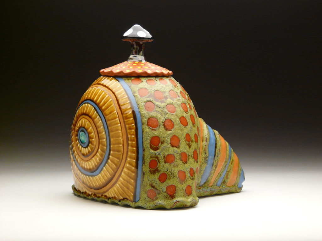 Strange Growth Jar by Ronan Peterson, red earthenware, 12 x 14 x 10-at Craven Allen Gallery