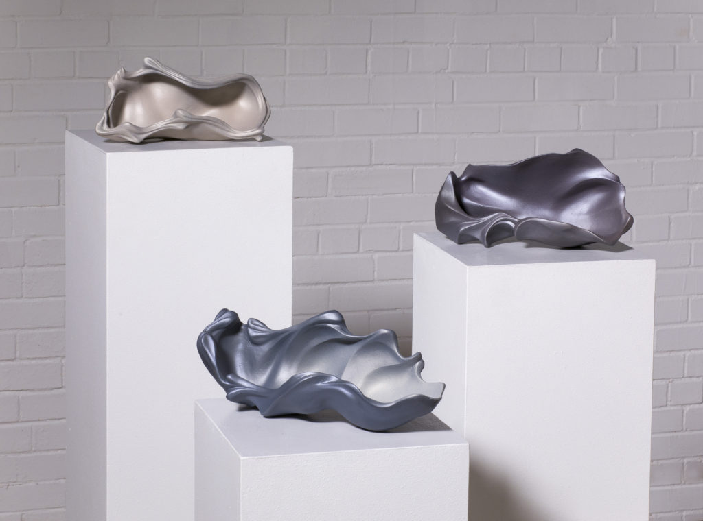 Shell grouping by Rosalie Midyette, ceramic, 9x6x5in each at Craven Allen Gallery