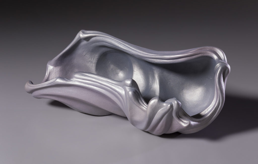 Wave shell by Rosalie Midyette, ceramic and mica, 10x5x4 at Craven Allen Gallery