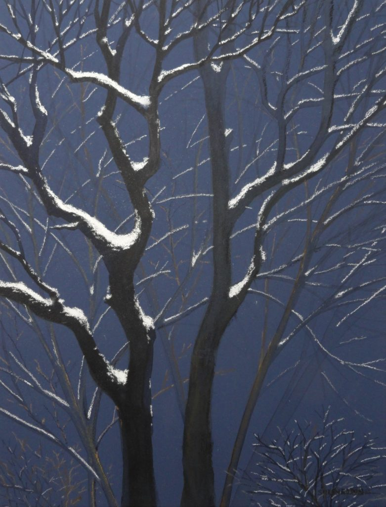Snow Trees by Sue Sneddon mixed media 11.5 x 8.5 framed size 19 x 16 at Craven Allen Gallery  650