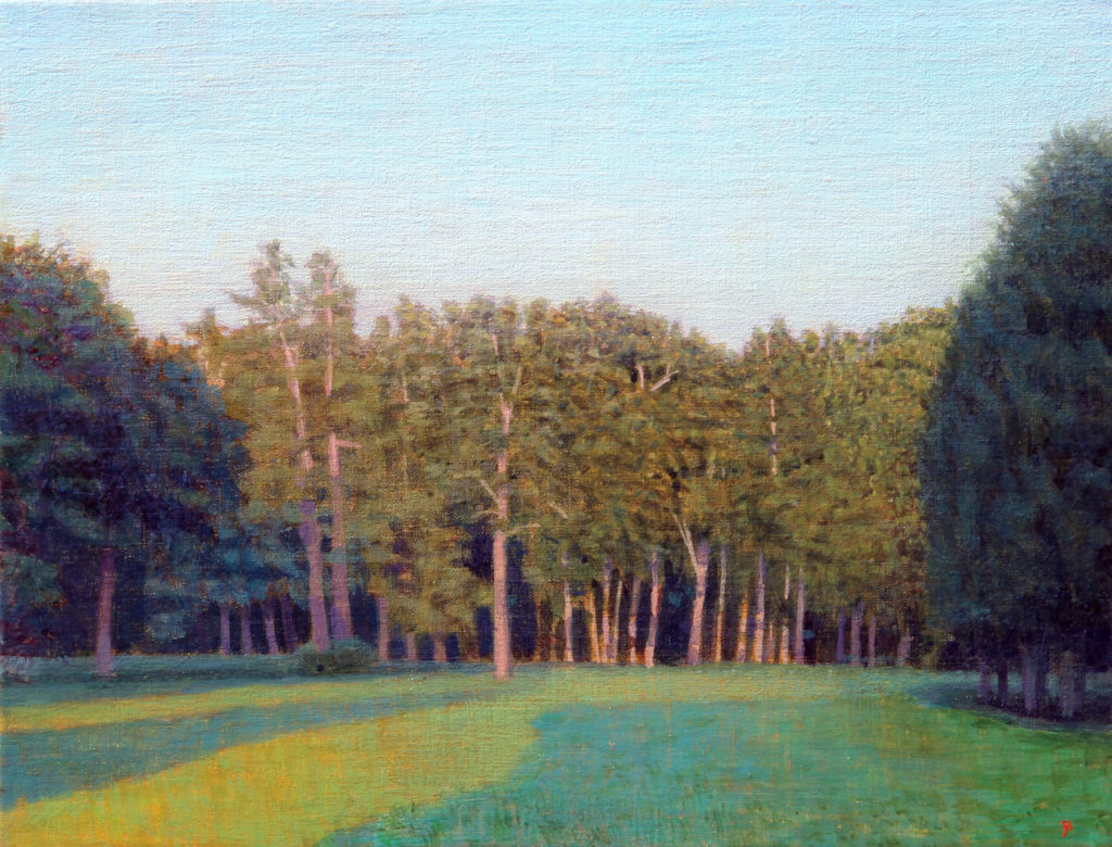 Southfield #2, Summer Morning Looking West, Oil and egg tempera on linen, 10 x 13 by John Beerman at Craven Allen Gallery