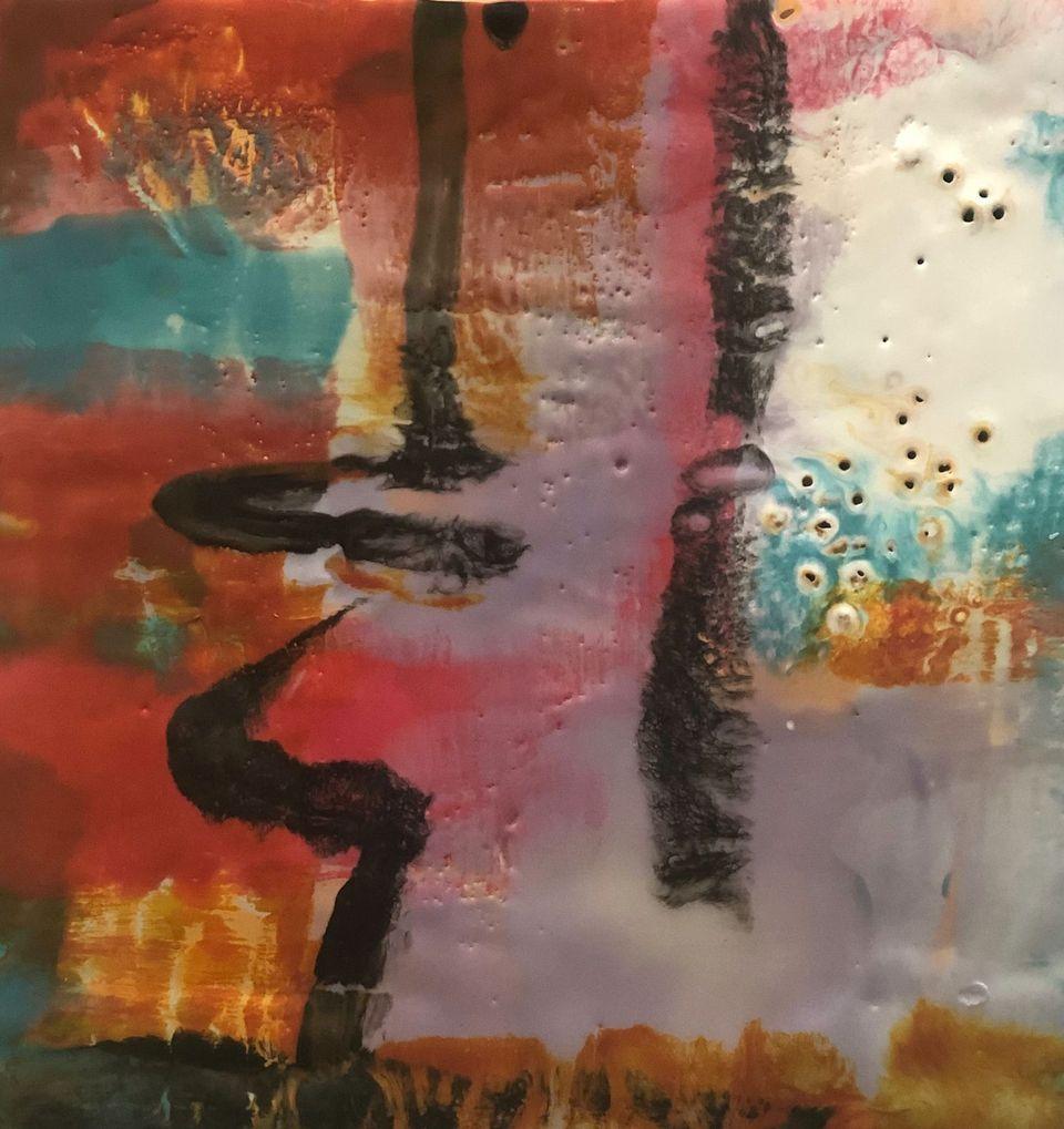 Still Here by Peg Bachenheimer, encaustic, 10 x 10 at Craven Allen Gallery