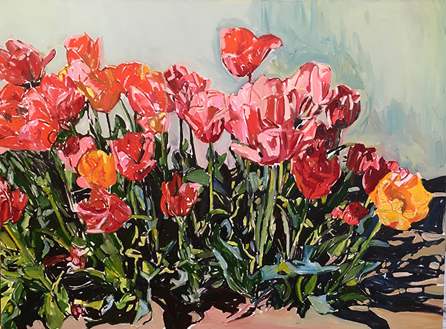 Sunny Tulips by Beverly McIver, oil on canvas, 36 x 48 at Craven Allen Gallery