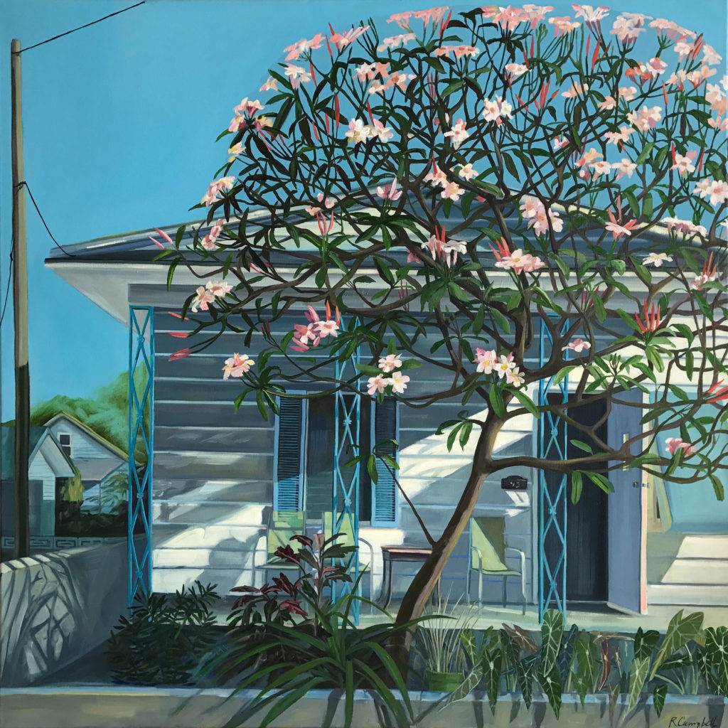 The Frangapani Tree, oil on canvas, 36×36  by Rachel Campbell at Craven Allen Gallery
