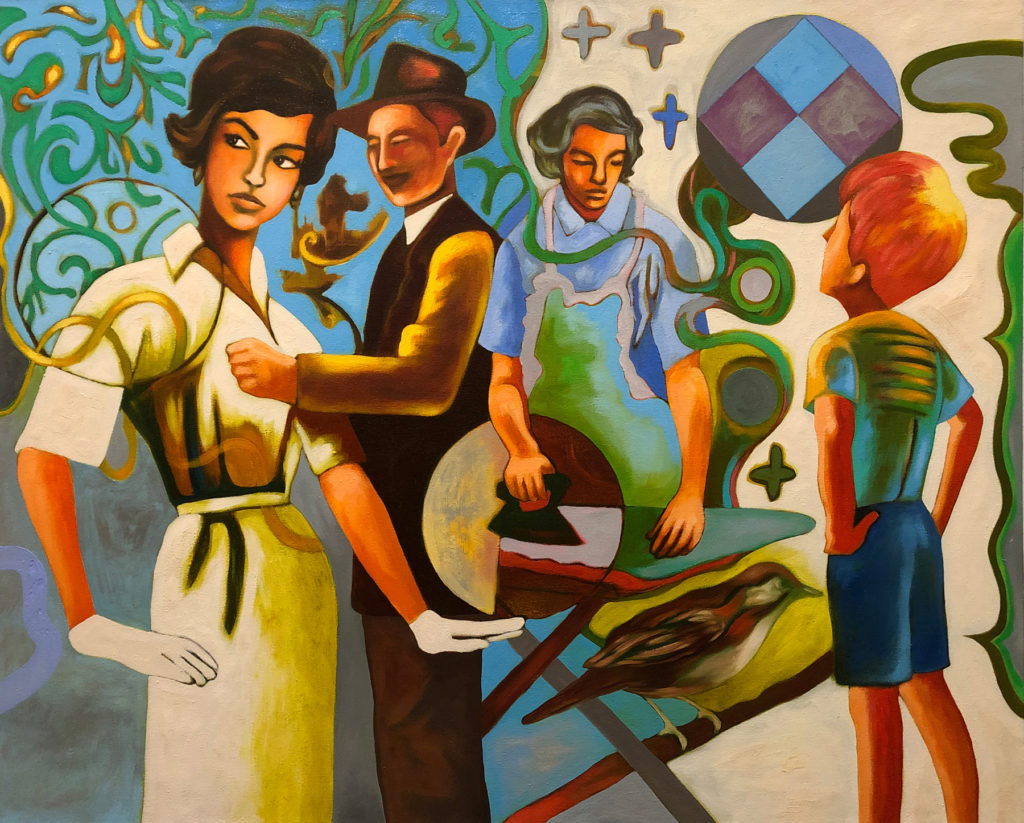 """Getting Acquainted by Michael Tice 32"""" x 40"""" oil on canvas 2400"""