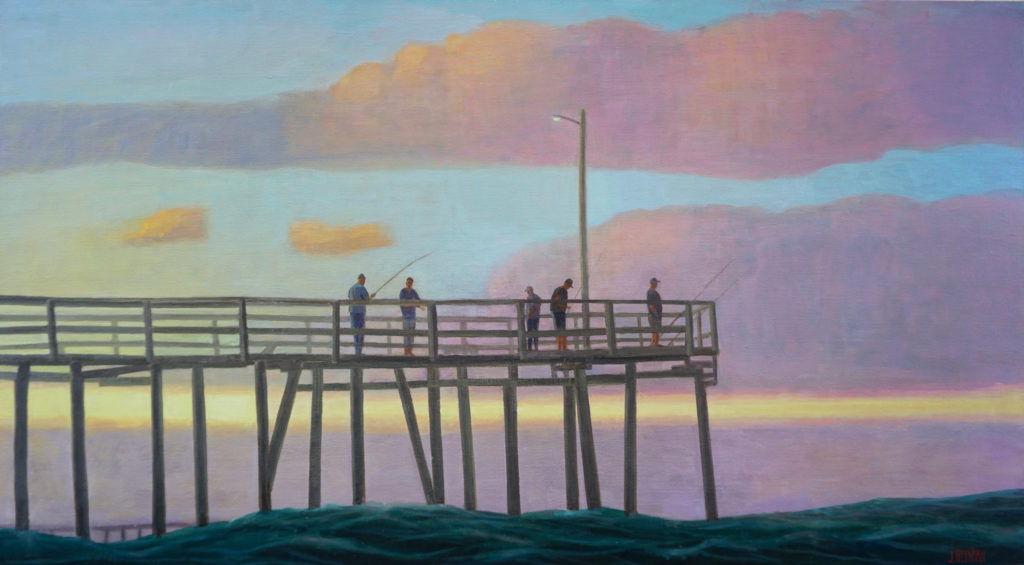 Twilight Pier, Oil and egg tempera on linen 30 x 54 by John Beerman at Craven Allen Gallery