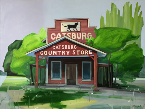 Catsburg County Store. oil on canvas, 30 x 30 by Rachel Campbell at Craven Allen Gallery