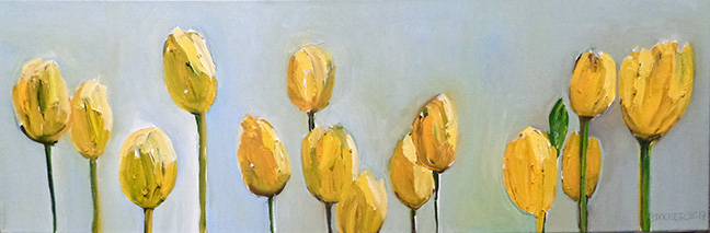 Yellow Tulips by Beverly McIver, oil on canvas, 12 x 36 at Craven Allen Gallery
