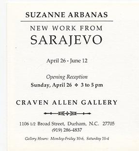 SUZANNE ARBANAS: NEW WORK FROM SARAJEVO