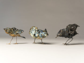 Paperbirds, mixed materials, by Bryant Holsenbeck at Craven Allen Gallery