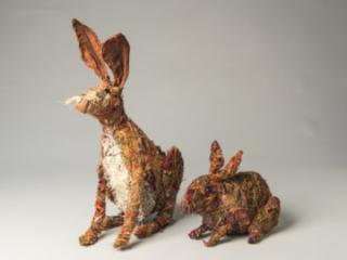 Bunnies, mixed materials, by Bryant Holsenbeck at Craven Allen Gallery