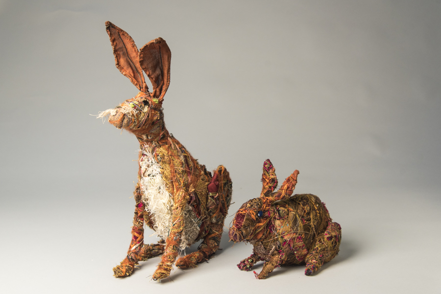 Bunnies, mixed materials, by Bryant Holsenbeck at Craven Allen Gallery