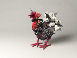 Black & White Chicken, mixed materials, by Bryant Holsenbeck at Craven Allen Gallery
