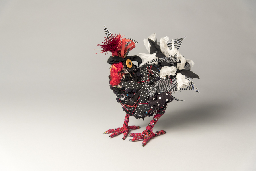 Black & White Chicken, mixed materials, by Bryant Holsenbeck at Craven Allen Gallery