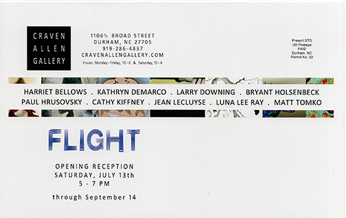 FLIGHT with Harriet Bellows, Kathryn DeMarco, Larry Downing, Bryant Holsenbeck, Paul Hrusovsky, Cathy Kiffney, Jean LeCluyse, Luna Lee Ray, Matt Tomko at Craven Allen Gallery