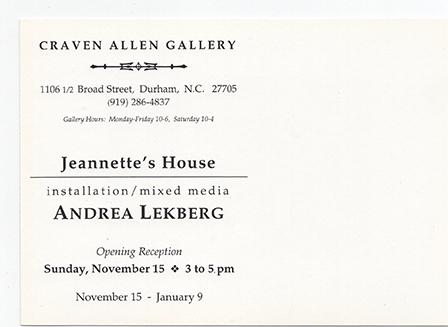 ANDREA LEKBERG: JEANNETTE'S HOUSE