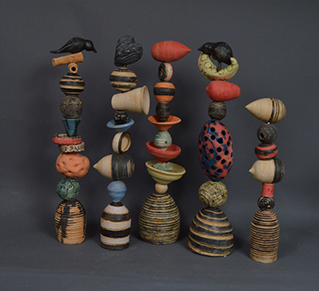 Colorful Memory Stacks, mixed media pottery by Larry Downing