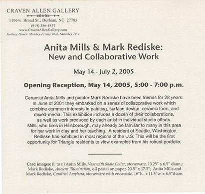 ANITA MILLS & MARK REDISKE: NEW AND COLLABORATIVE WORK