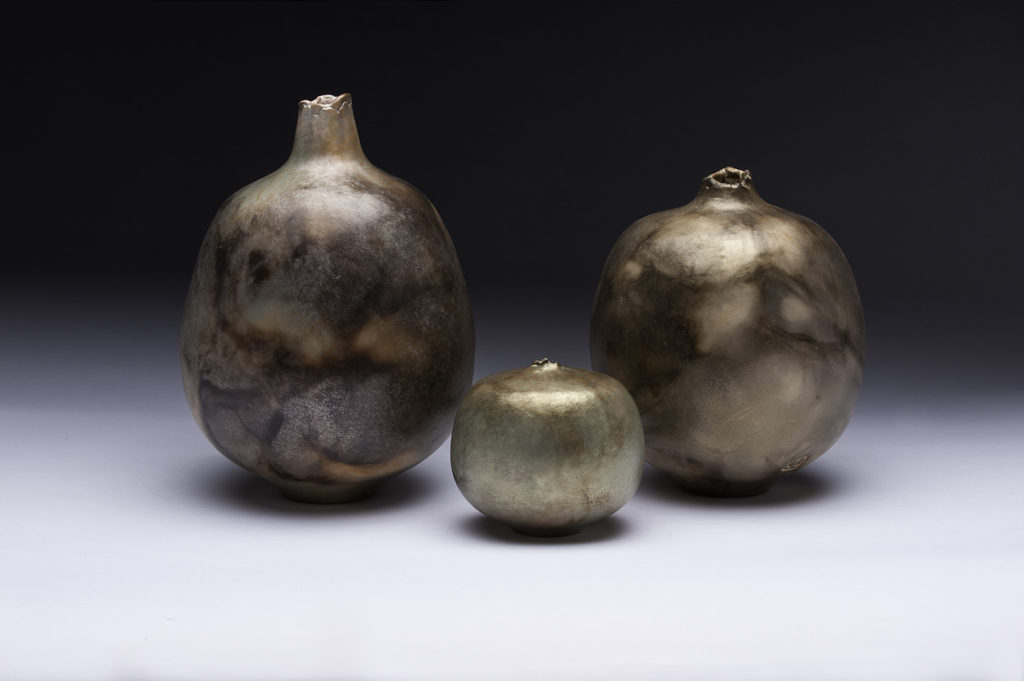 Pit fired earthenware, by Jim Lux at Craven Allen Gallery