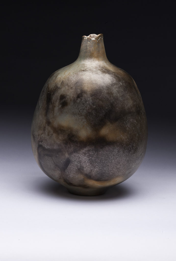 Pot, pit fired earthenware by Jim Lux at Craven Allen Gallery