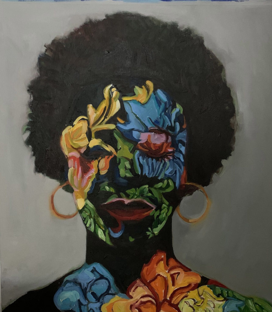 Black Girl Beauty Portrait II by Beverly McIver, oil on canvas