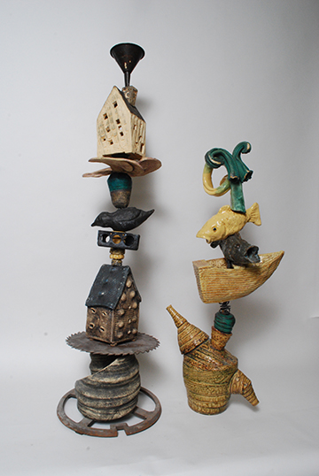 Memory Stacks, mixed media pottery by Larry Downing