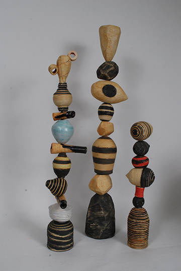 Striped Memory Stacks, mixed media pottery by Larry Downing